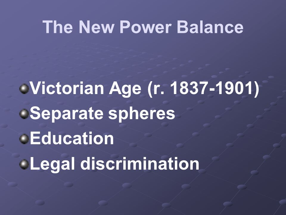 The New Power Balance Victorian Age (r. 1837-1901) Separate spheres