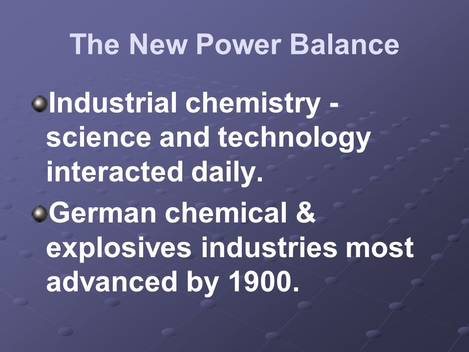 Industrial chemistry -science and technology interacted daily.