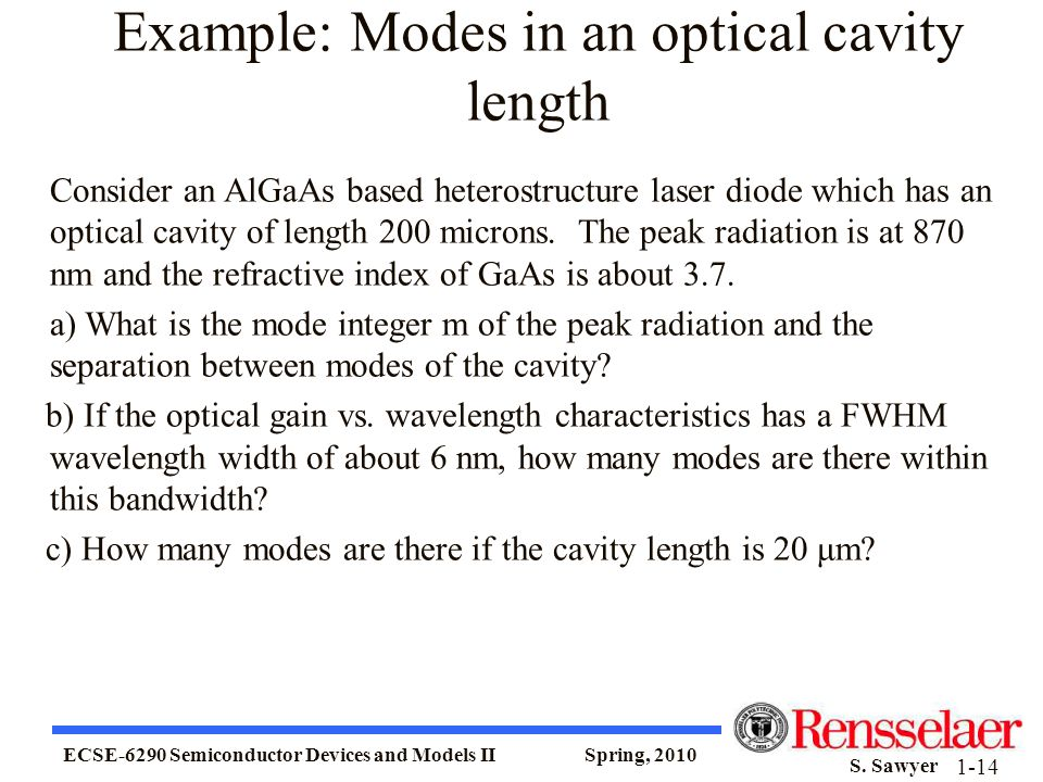 Example: Modes in an optical cavity length