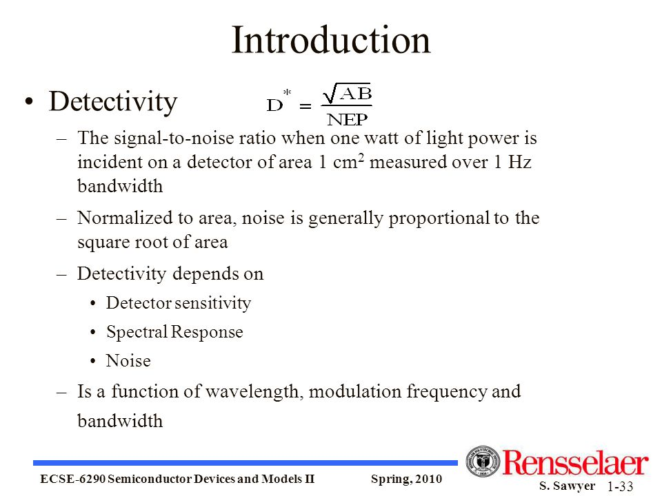 Introduction Detectivity