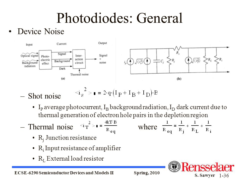 Photodiodes: General Device Noise Shot noise Thermal noise where