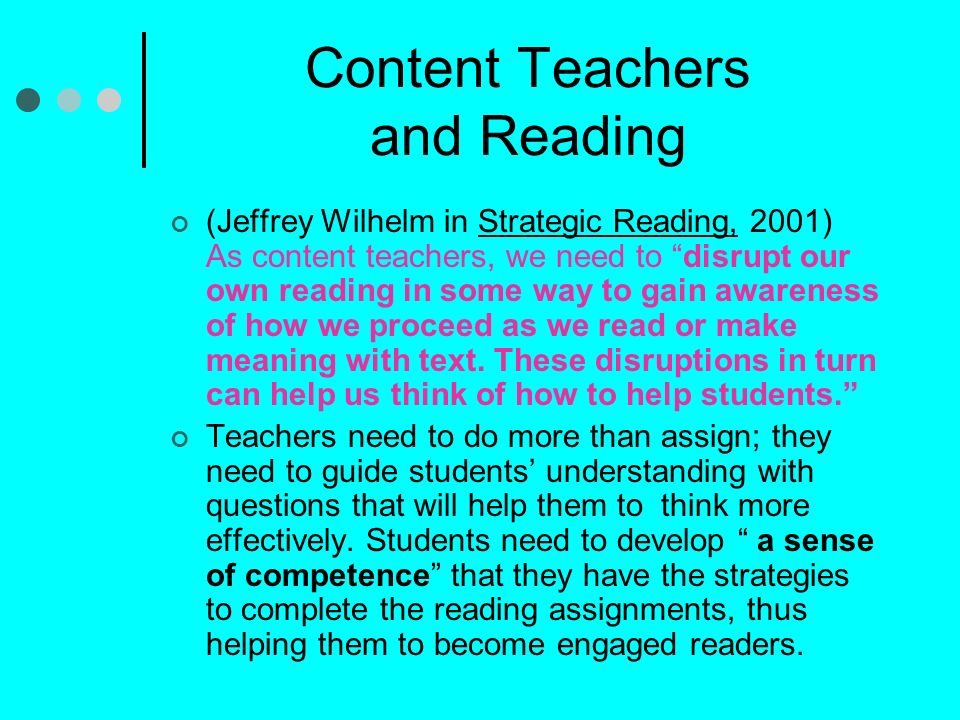 Content Teachers and Reading