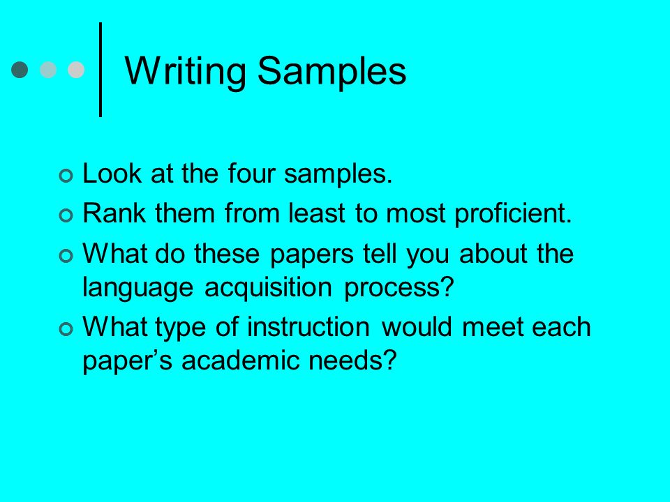 Writing Samples Look at the four samples.