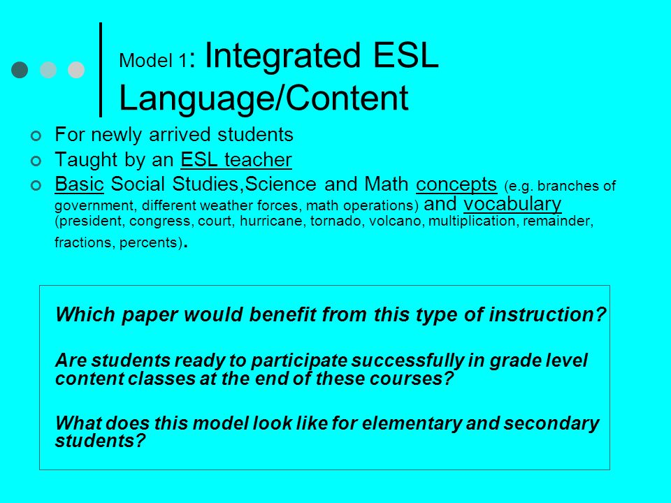 Model 1: Integrated ESL Language/Content