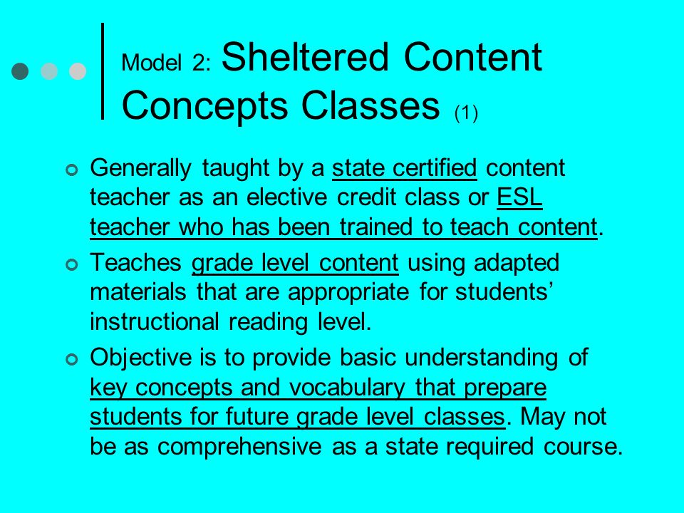 Model 2: Sheltered Content Concepts Classes (1)