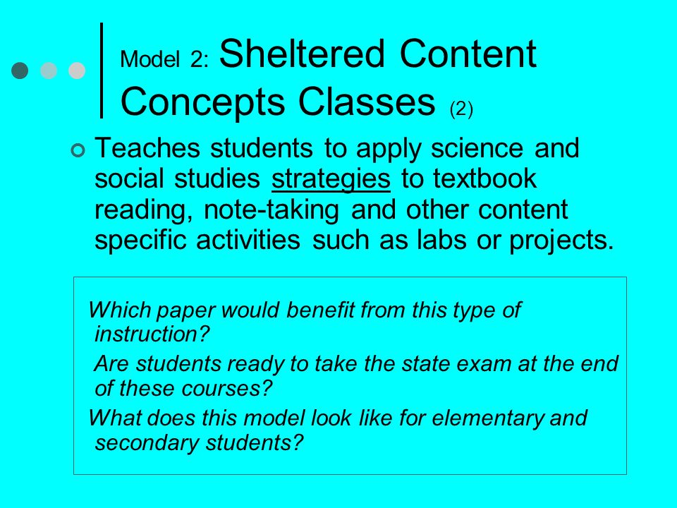 Model 2: Sheltered Content Concepts Classes (2)