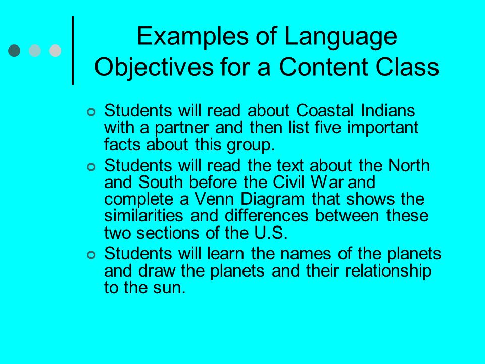Examples of Language Objectives for a Content Class