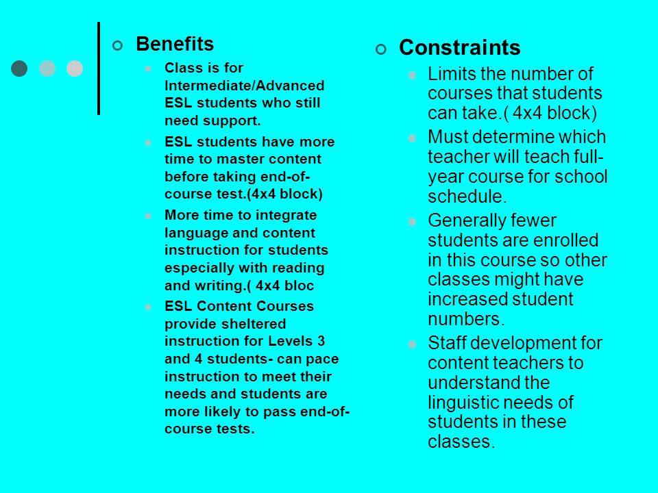 Benefits Class is for Intermediate/Advanced ESL students who still need support.