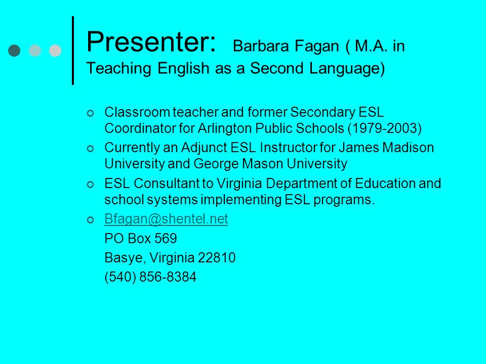Presenter: Barbara Fagan ( M. A