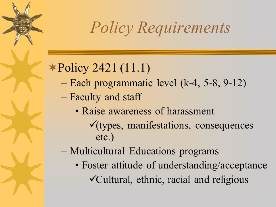 Policy Requirements Policy 2421 (11.1)