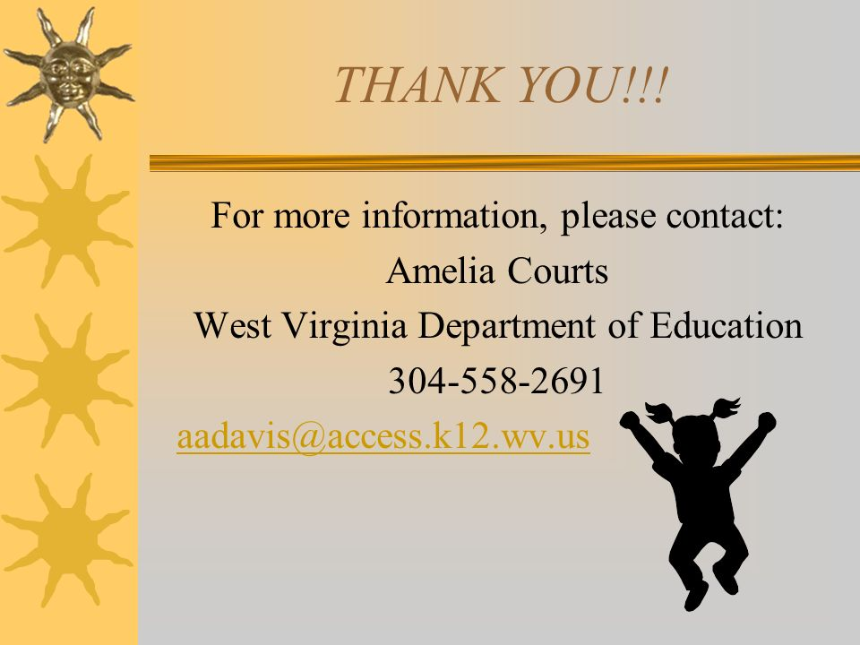 THANK YOU!!! For more information, please contact: Amelia Courts