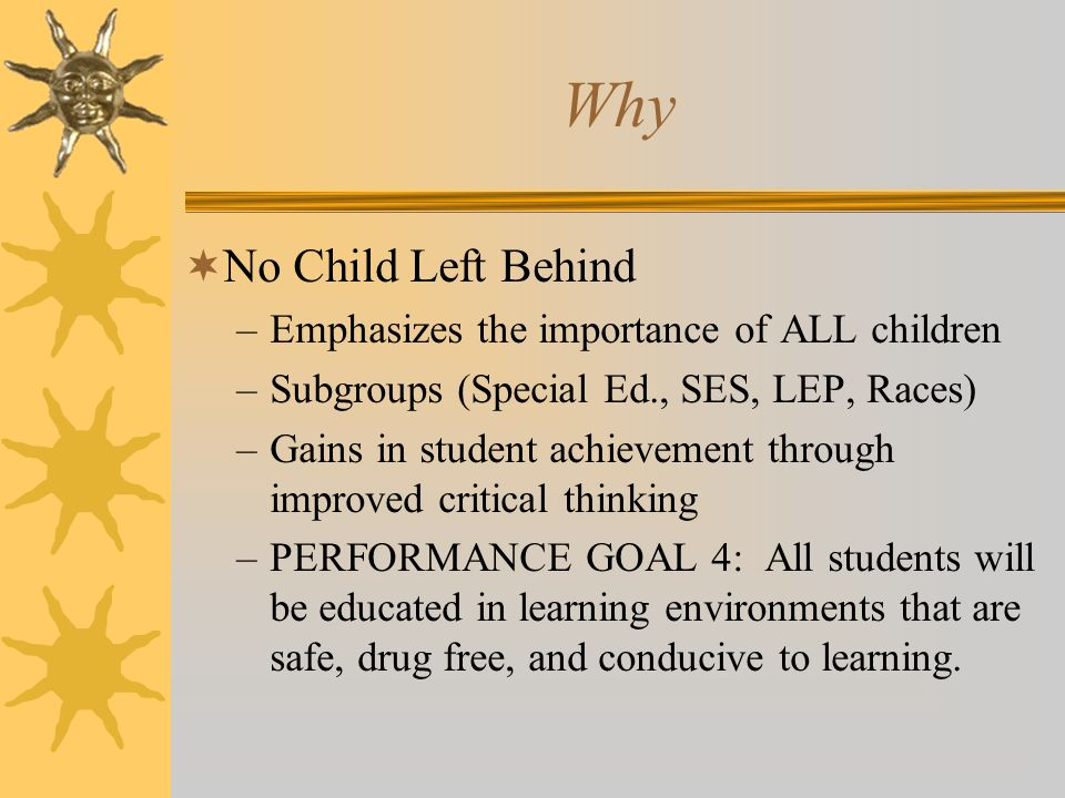 Why No Child Left Behind Emphasizes the importance of ALL children