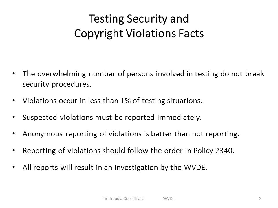 Testing Security and Copyright Violations Facts