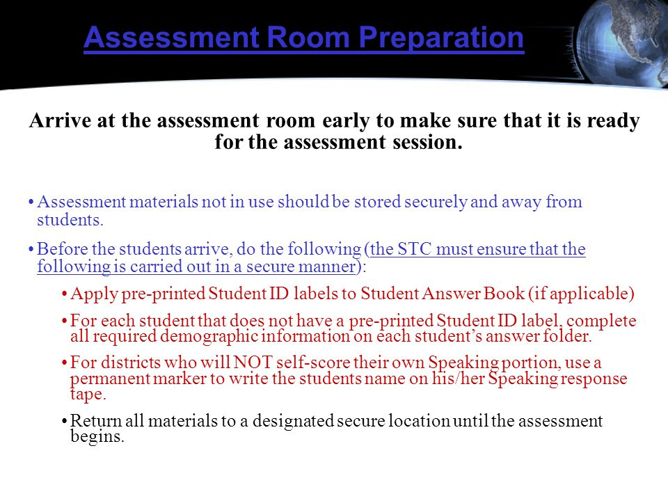 Assessment Room Preparation