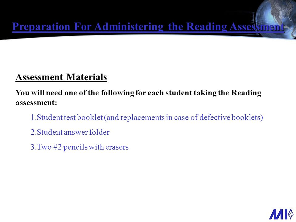 Preparation For Administering the Reading Assessment