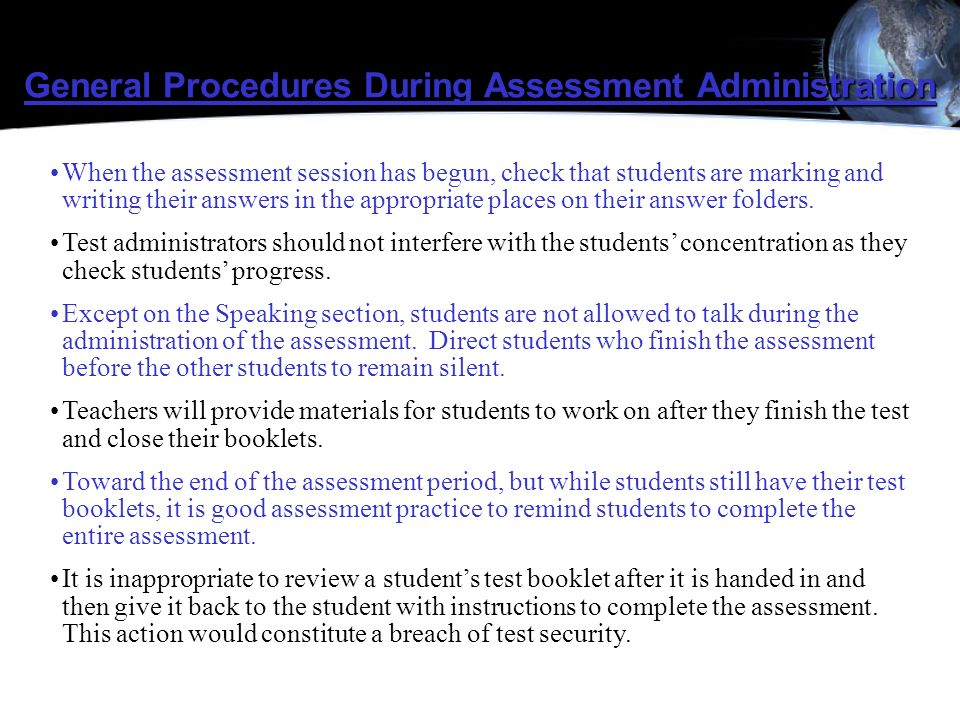 General Procedures During Assessment Administration