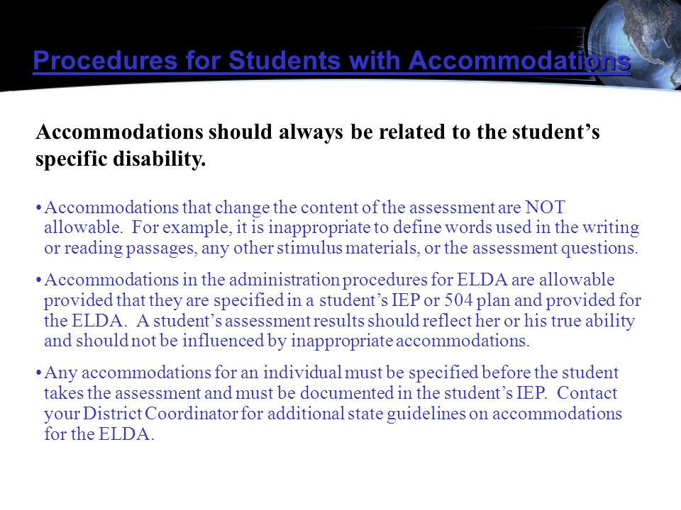 Procedures for Students with Accommodations