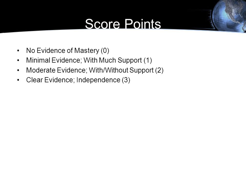 Score Points No Evidence of Mastery (0)