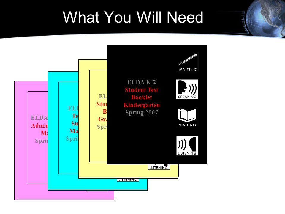 What You Will Need ELDA K-2 Student Test Booklet Kindergarten