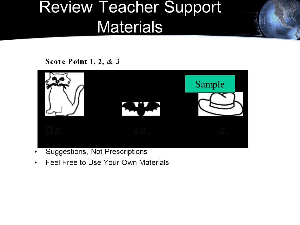 Review Teacher Support Materials