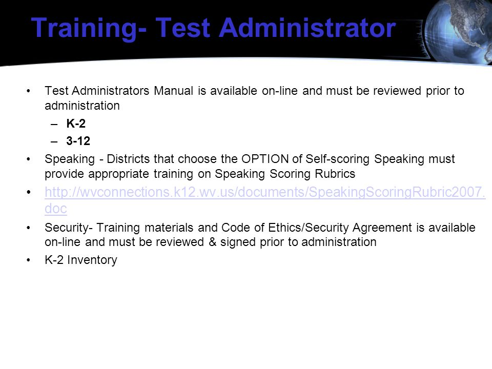Training- Test Administrator