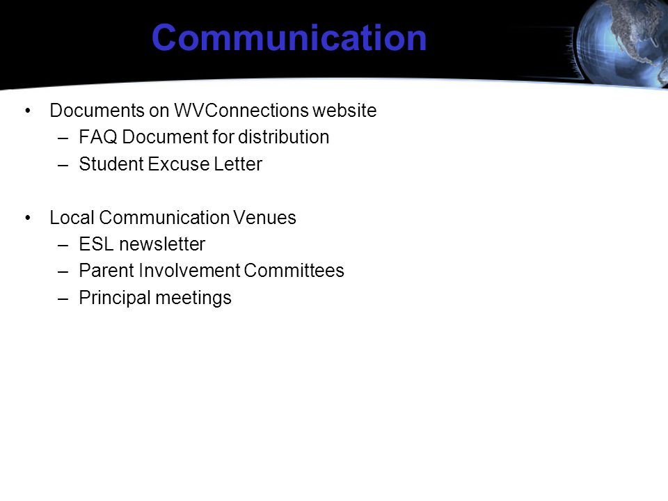 Communication Documents on WVConnections website