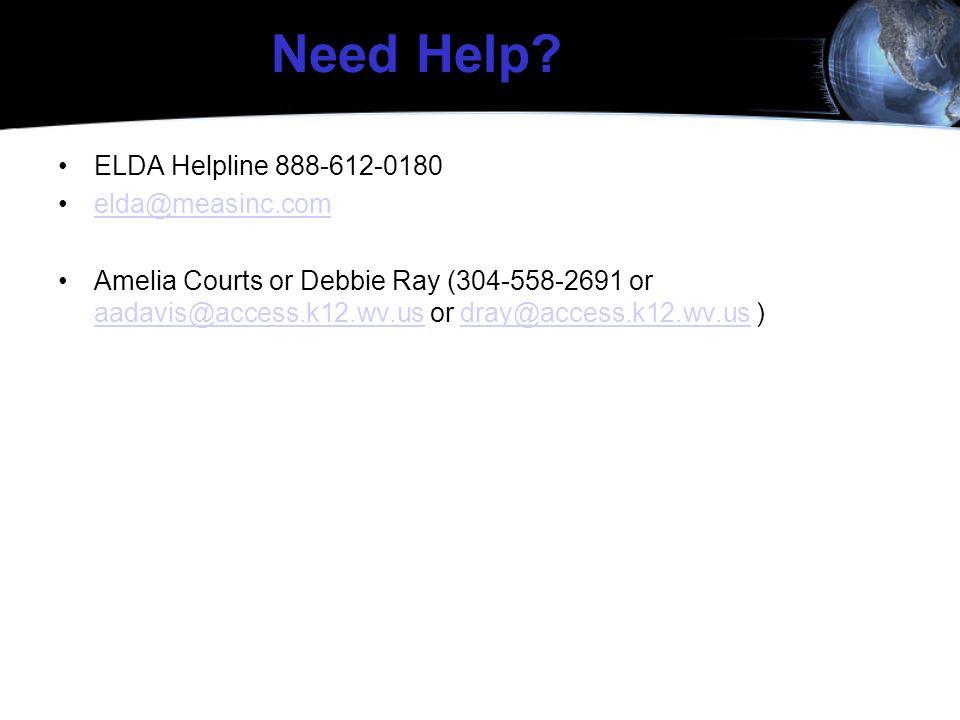 Need Help ELDA Helpline 888-612-0180 elda@measinc.com