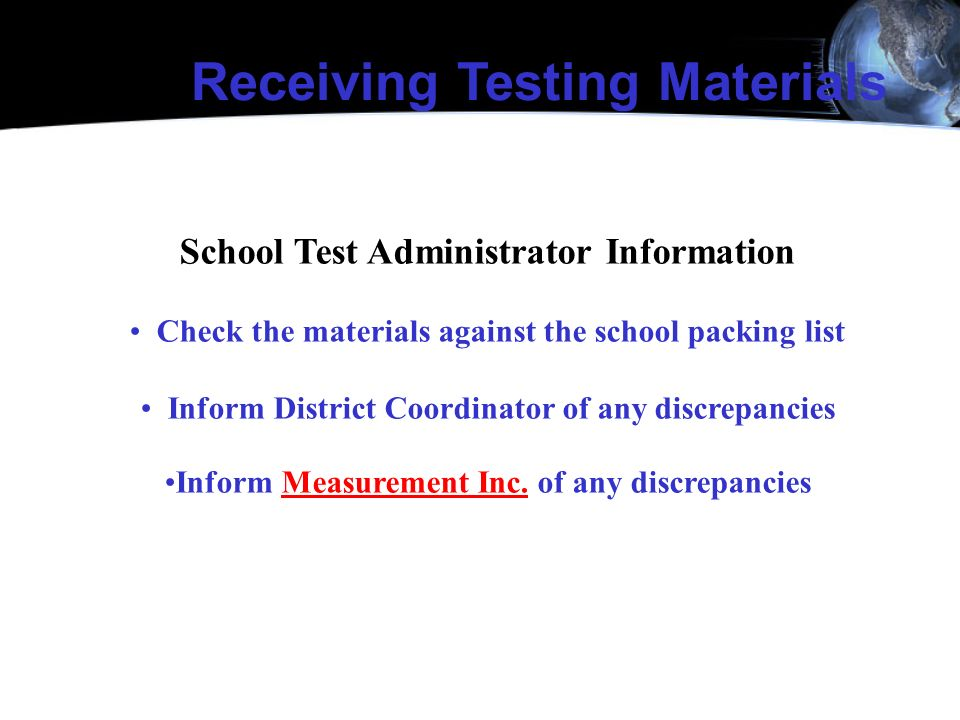 Receiving Testing Materials