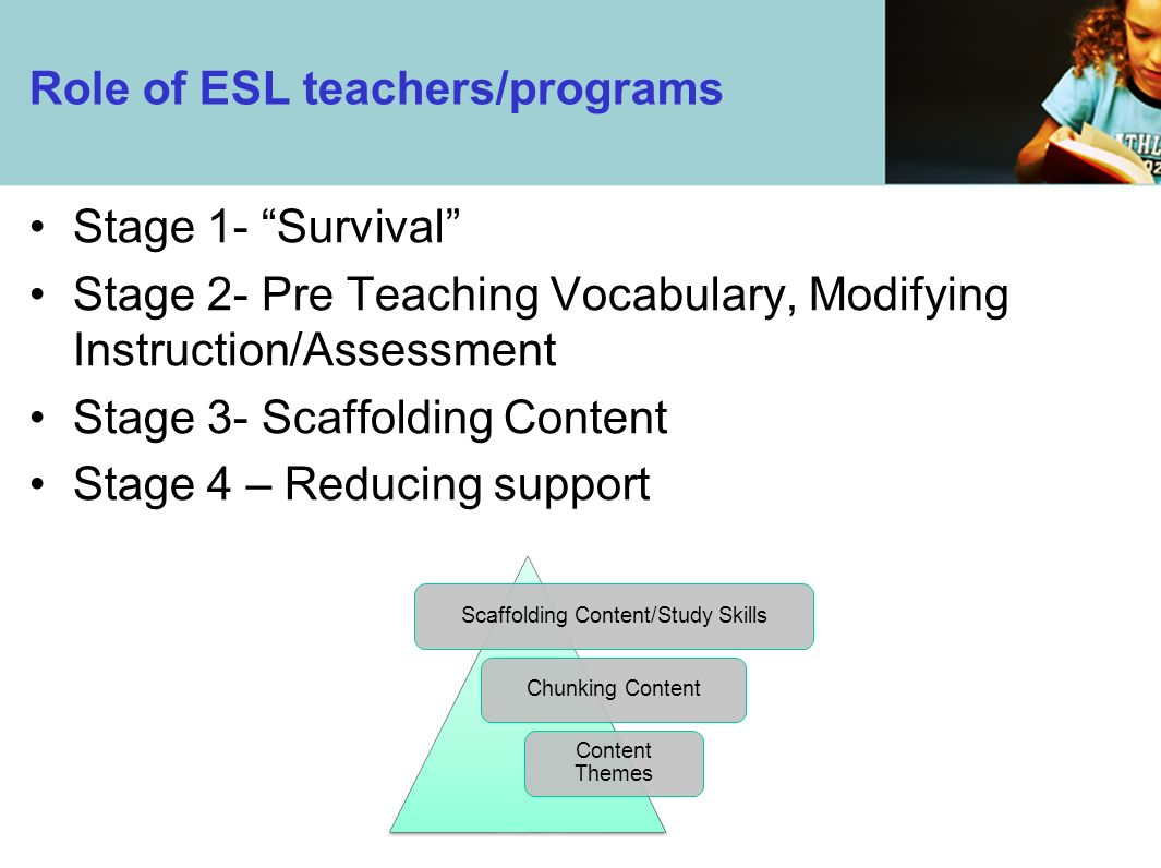 Role of ESL teachers/programs