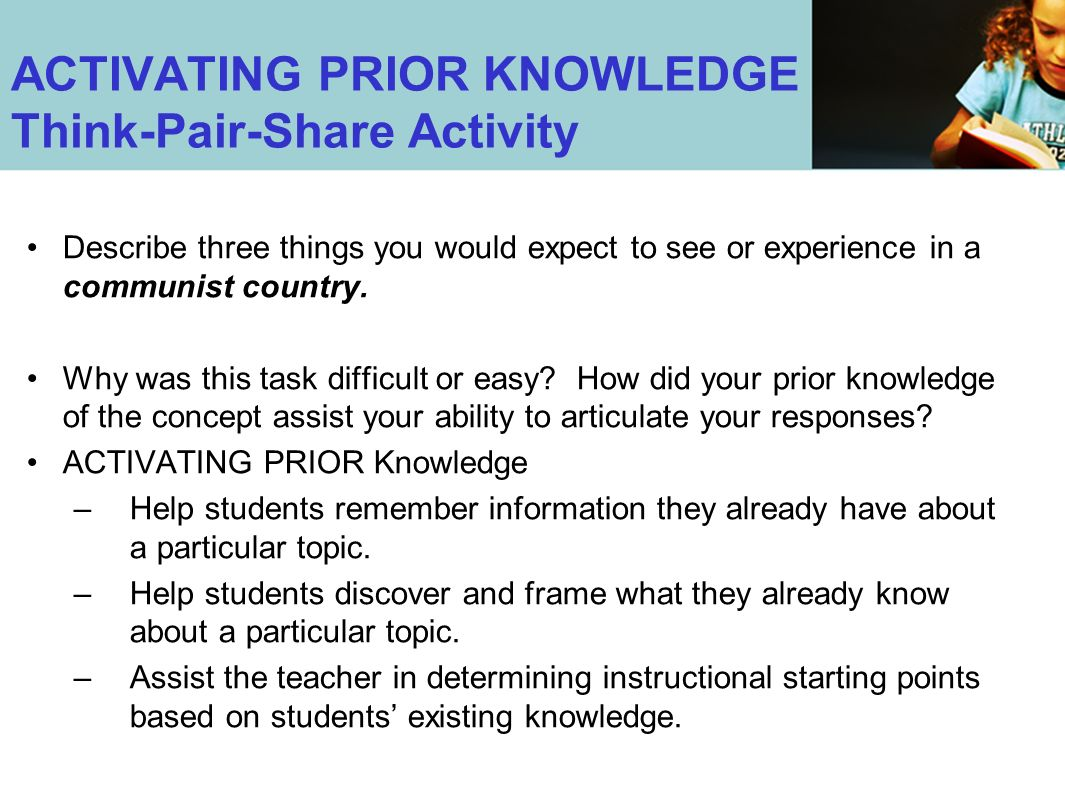 ACTIVATING PRIOR KNOWLEDGE Think-Pair-Share Activity