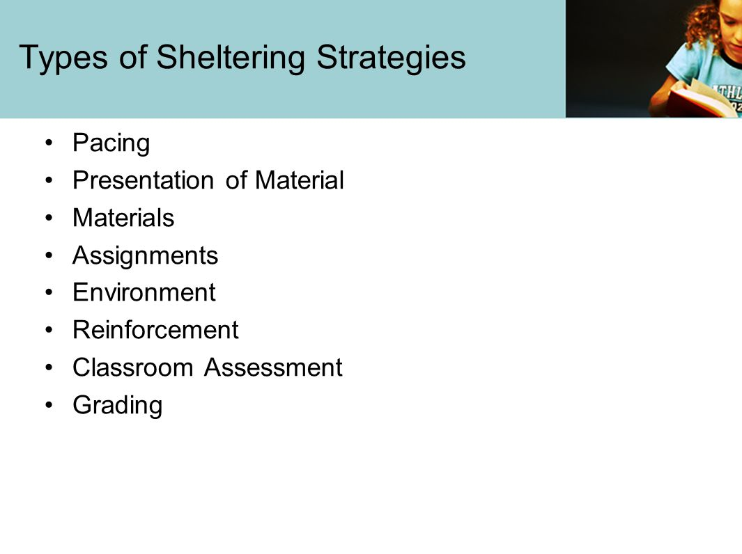 Types of Sheltering Strategies