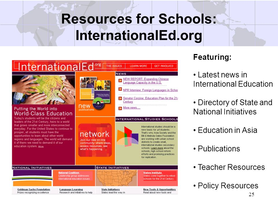 Resources for Schools: InternationalEd.org