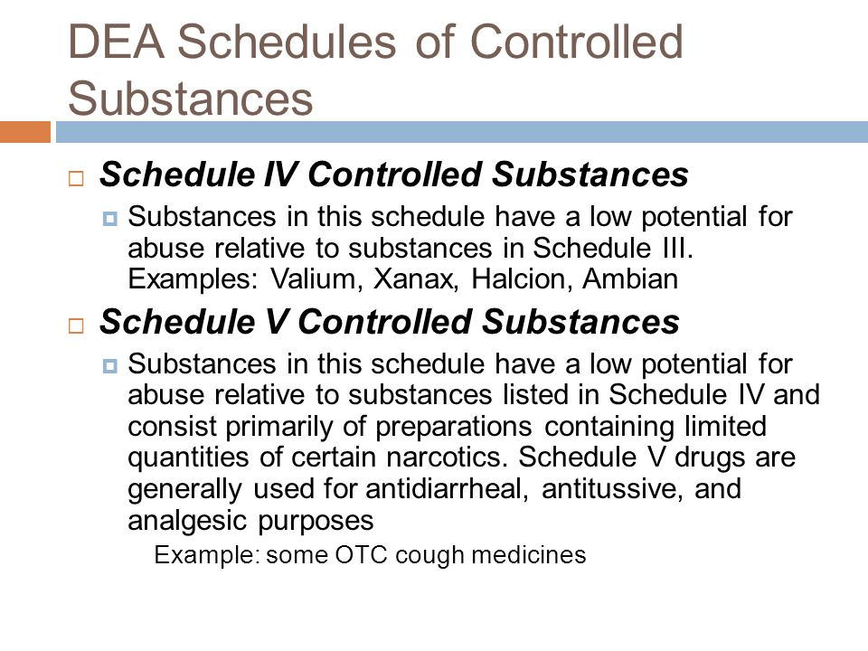 valium schedule iv substance