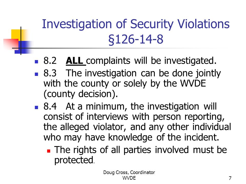 Investigation of Security Violations §126-14-8