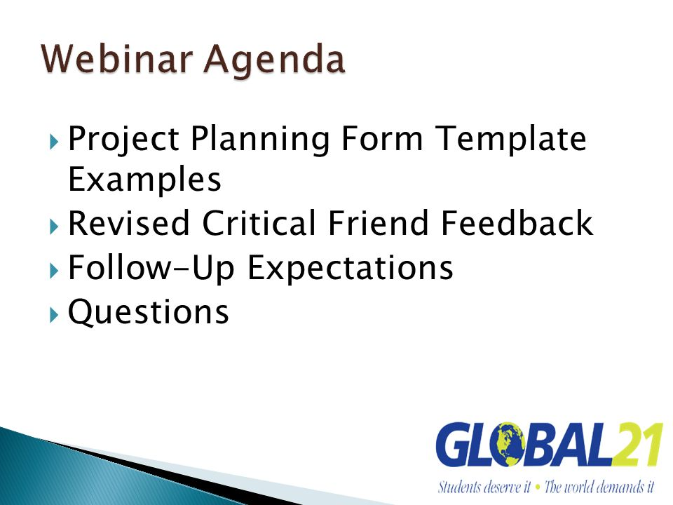 Webinar Agenda Project Planning Form Template Examples