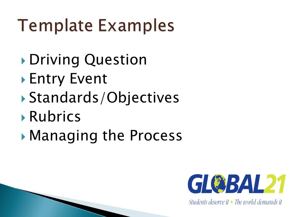 Template Examples Driving Question Entry Event Standards/Objectives
