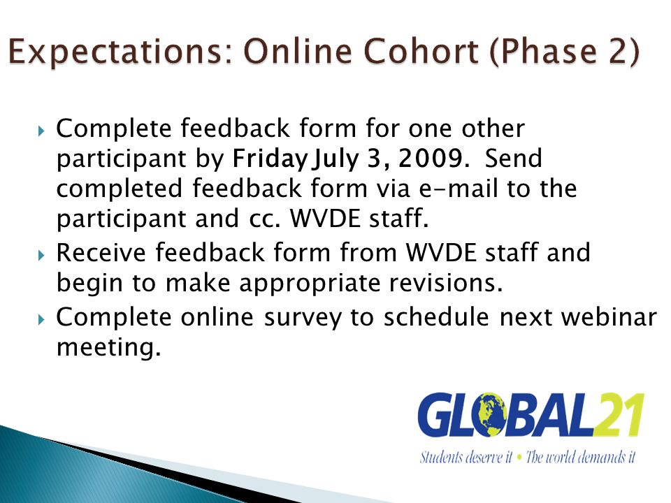 Expectations: Online Cohort (Phase 2)