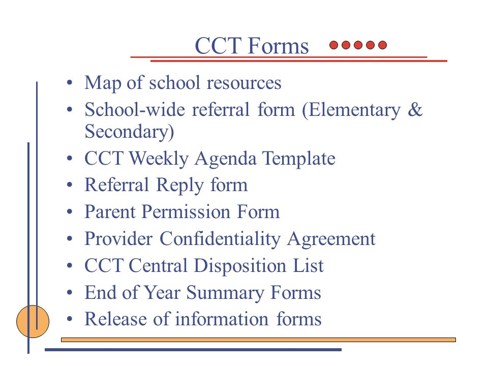 CCT Forms Map of school resources