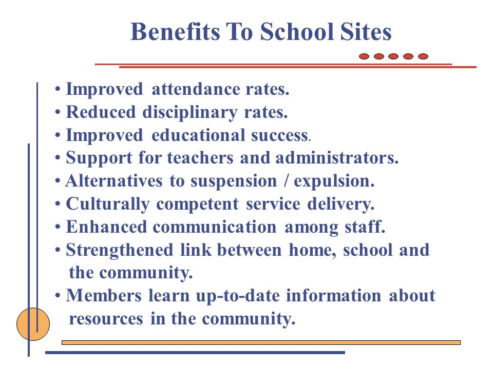 Benefits To School Sites