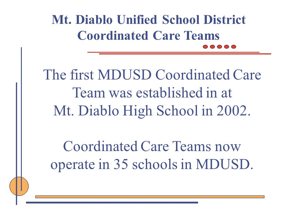 Mt. Diablo Unified School District Coordinated Care Teams
