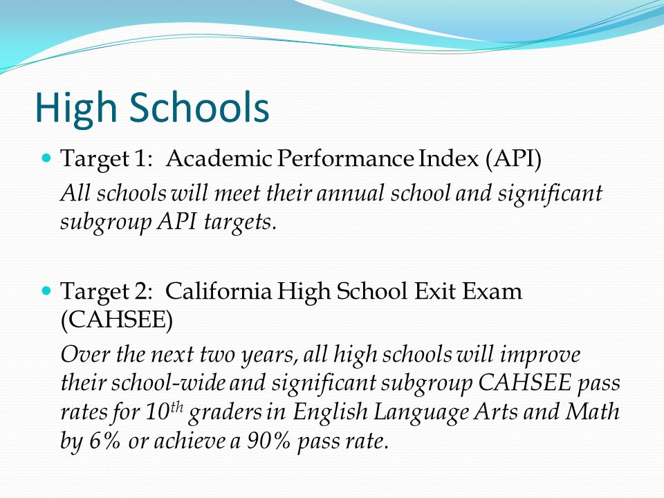 High Schools Target 1: Academic Performance Index (API)