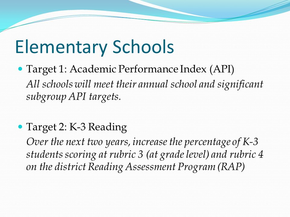 Elementary Schools Target 1: Academic Performance Index (API)