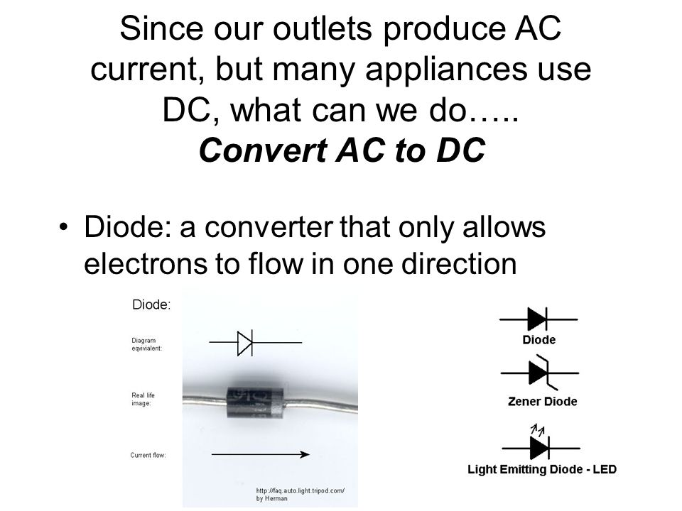 Since our outlets produce AC current, but many appliances use DC, what can we do….. Convert AC to DC