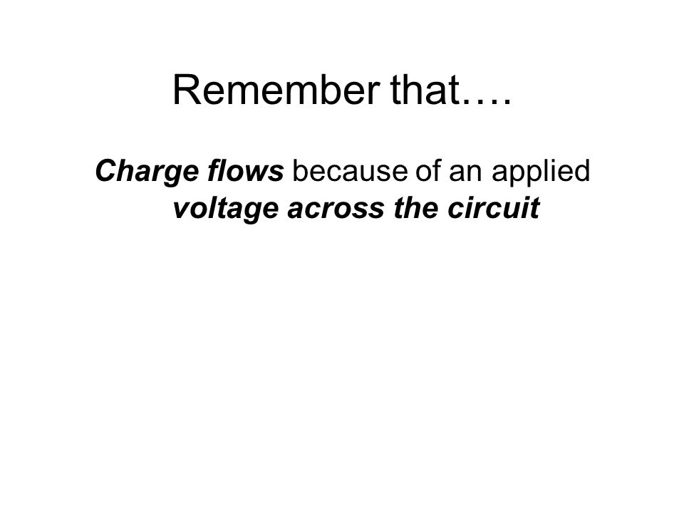 Charge flows because of an applied voltage across the circuit