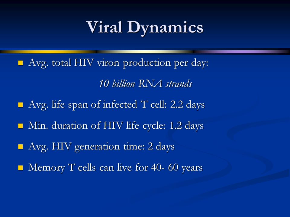 Viral Dynamics Avg. total HIV viron production per day: