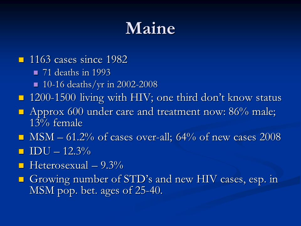 Maine1163 cases since 1982. 71 deaths in 1993. 10-16 deaths/yr in 2002-2008. 1200-1500 living with HIV; one third don't know status.