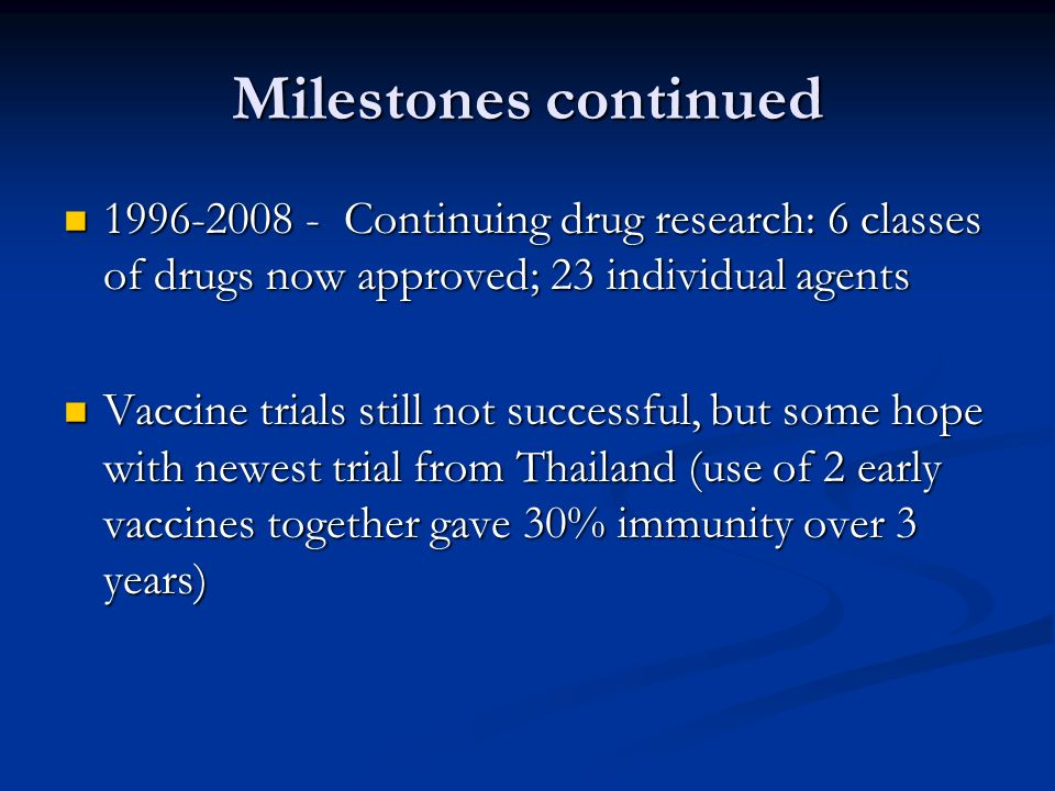 Milestones continued1996-2008 - Continuing drug research: 6 classes of drugs now approved; 23 individual agents.