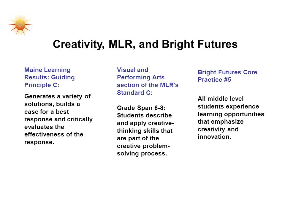 Creativity, MLR, and Bright Futures