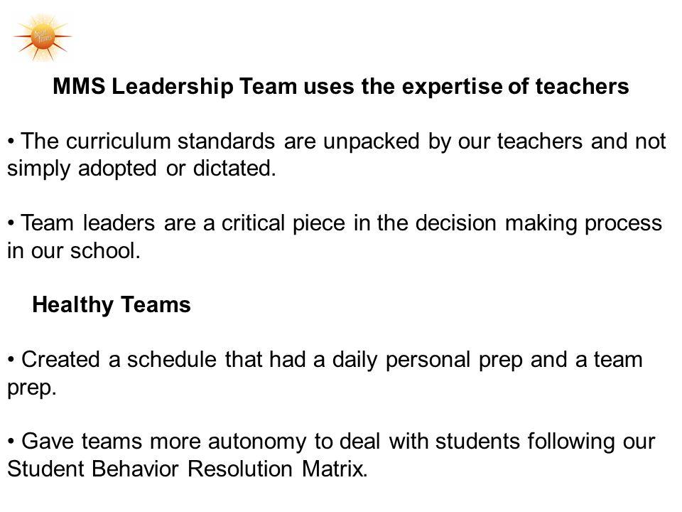 MMS Leadership Team uses the expertise of teachers