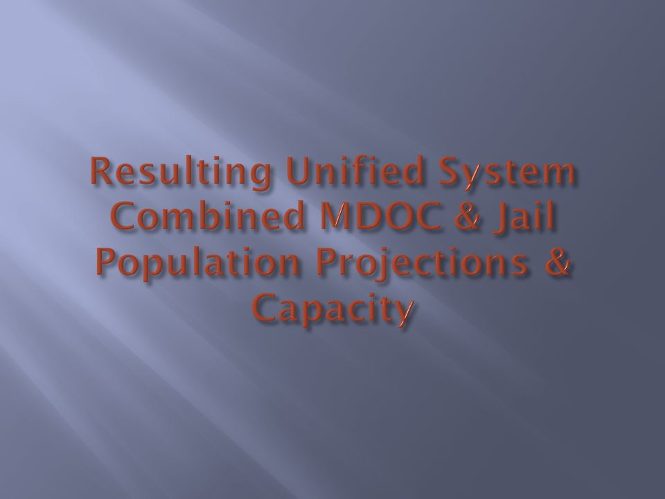 Resulting Unified System Combined MDOC & Jail Population Projections & Capacity
